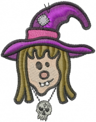Kid Witch Face embroidery design