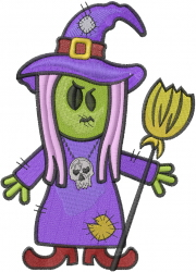Kids Witch Zombie embroidery design