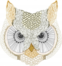 Owl Face embroidery design