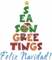 Feliz Navidad Tree embroidery design