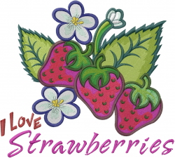 I Love Strawberries embroidery design