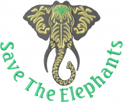 Save The Elephants embroidery design