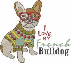 Love My French Bulldog embroidery design