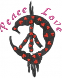 Hippie Peace Love Sign embroidery design