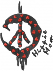 Peace Sign Hippie Mom embroidery design