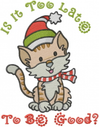 Holiday Cat Be Good embroidery design