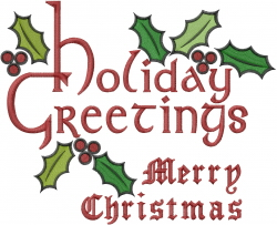 Holiday Greetings Merry Christmas embroidery design