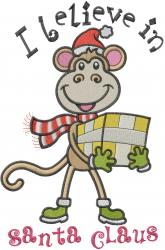 Monkey Believes In Santa embroidery design