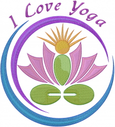 I Love Yoga Lotus embroidery design