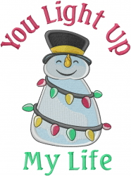 Snowman Christmas Lights embroidery design