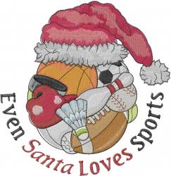 Even Santa Loves Sports embroidery design