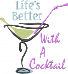 summer cocktail glass_Lifes Better_ embroidery design