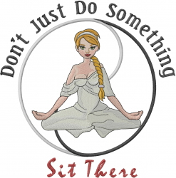 Yoga Woman Sit There embroidery design