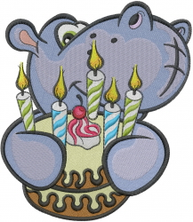 Birthday Hippo embroidery design