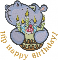 Hip Happy Birthday! embroidery design