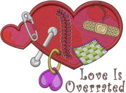 Love Is Overrated embroidery design