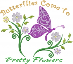 Butterfly & Pretty Flowers embroidery design