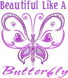 Beautiful Like A Butterfly embroidery design