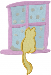 Cat In Window embroidery design