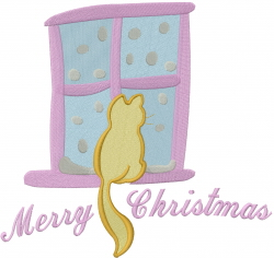 Merry Christmas Cat embroidery design