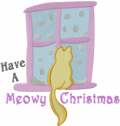 Meowy Christmas Cat embroidery design