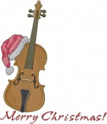 Cello Santa Merry Christmas embroidery design
