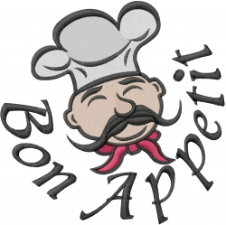 Chef Face Bon Appetit embroidery design