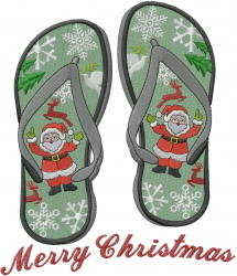 Merry Christmas Flip Flop embroidery design
