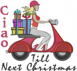 Ciao Till Next Xmas embroidery design