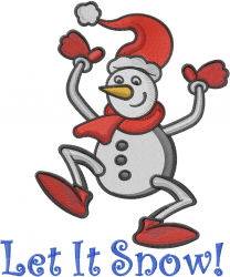 Let It Snow Snowman embroidery design