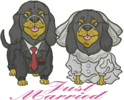 Just Married Puppies embroidery design