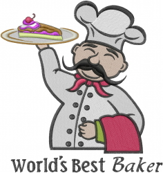 Worlds Best Baker embroidery design