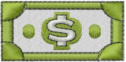 Dollar Bill embroidery design