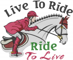 Ride To Live embroidery design