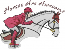 Horses Are Awesome embroidery design