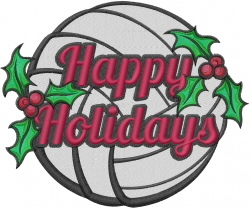 Happy Holidays Volleyball embroidery design