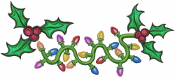 Holly Holiday Lights embroidery design