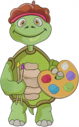 Little Turtle Artist embroidery design