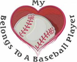 Heart Belongs To Baseball embroidery design