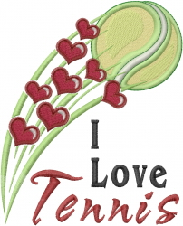 I Love Tennis embroidery design