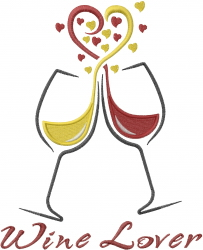 Wine Lovers Glasses embroidery design