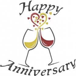 Happy Anniversary Toast embroidery design