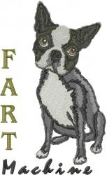 Boston Terrier Fart Machine embroidery design