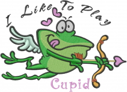 Playing Cupid Frog embroidery design