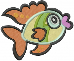 Cute Baby Fish embroidery design