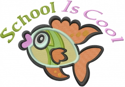 School Is Cool Fish embroidery design