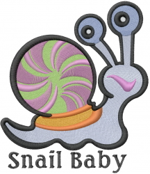 Cute Baby Snail embroidery design
