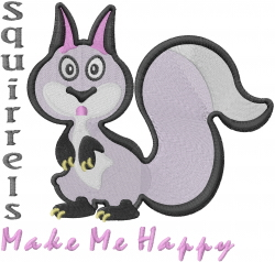 Squirrels Make Me Happy embroidery design