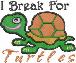 I Brake For Turtles embroidery design