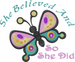 Butterfly Believe embroidery design